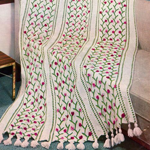 Striped Afghan Knitting Pattern : Rosebud Striped Afghan Knitting Pattern, No 4615