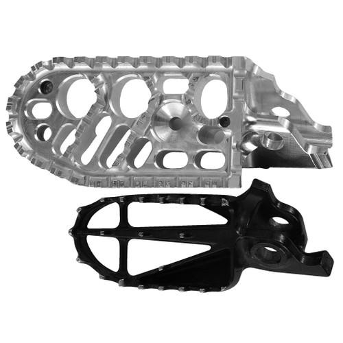 MACHINE FINISH BDCW Platform Footpeg for the Honda CRF 250/450 R/X models. Available in standard or lowered heights, as well as anodized black or orange finishes. Photo compares Honda's stock with BDCW Platform Footpeg sizes.
