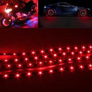 4 x Equinox 30CM/15 LED Flexible Strip Light 12V Waterproof for Cars, Trucks, etc (Red)