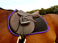 Black with Purple Trim and Yellow Piping Horse Saddle Pad Front View