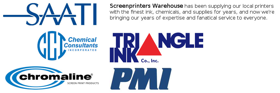 Screenprinters Warehouse has been supplying our local printers with the finest screenprinting ink, chemicals, and supplies for years.  Now we're bringing our years of expertise and fanatical service you everyone