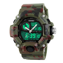 G Style Army Digital Rubber Sports Wrist Watch in Woodland Camo
