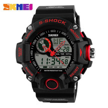 G STYLE ARMY DIGITAL RUBBER SPORTS WRIST WATCH IN RED AD1029