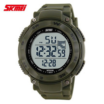 Camping LED Display Watch in Rubber Green Strap - DG1024