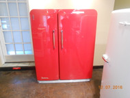KELVINATOR VINTAGE SIDE BY SIDE REFRIGERATOR WIRE SHELVES 2 CRISPER DRAWERS PULL OUT BASKET IN REFRIGERATOR 2 DAIRY DOORS EGG STORAGE IN THE DOOR FREEZER HAS PLENTY OF DOOR STORAGE NEW PAINT JOB RED BODY SHOP QUALITY