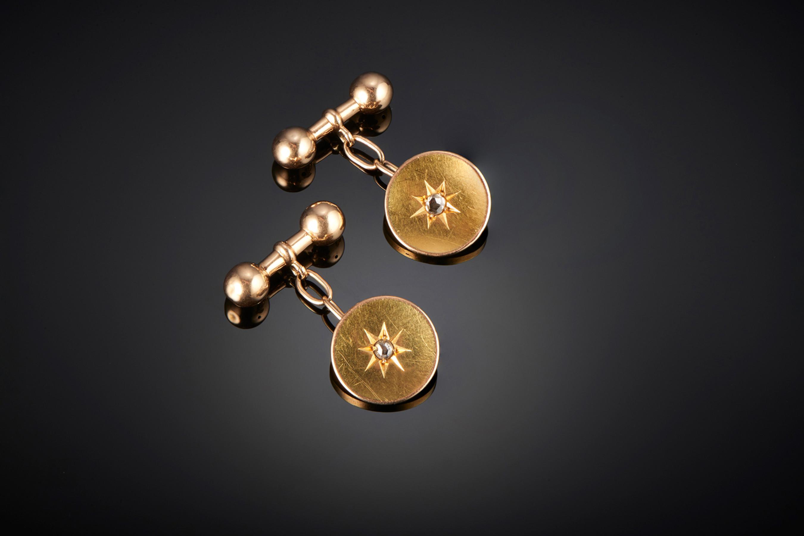 Elegant Pair of Diamond set Gold Cufflinks - Front Image