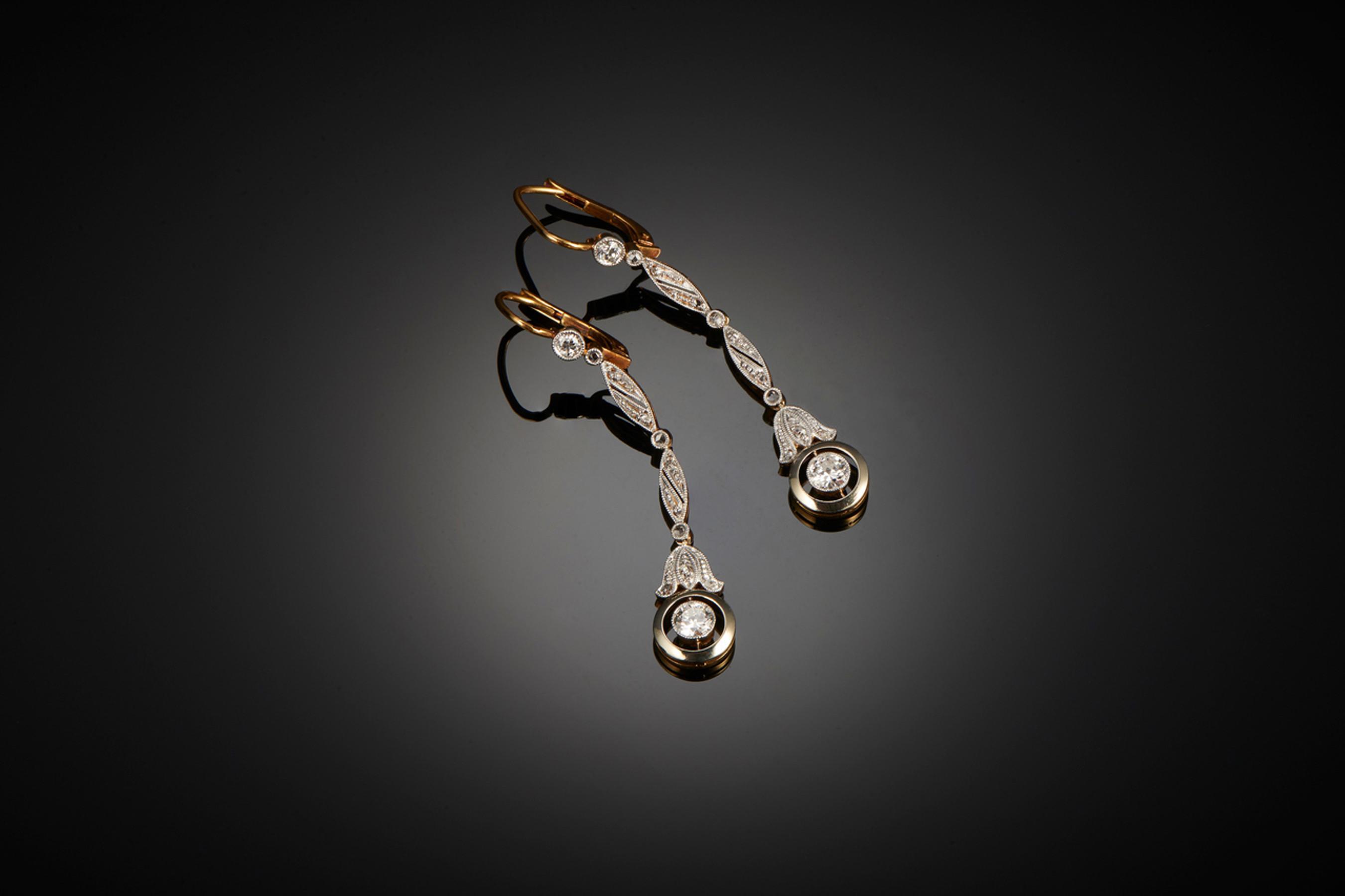Glamorous Pair of Diamond Pendant Earrings - Front Image