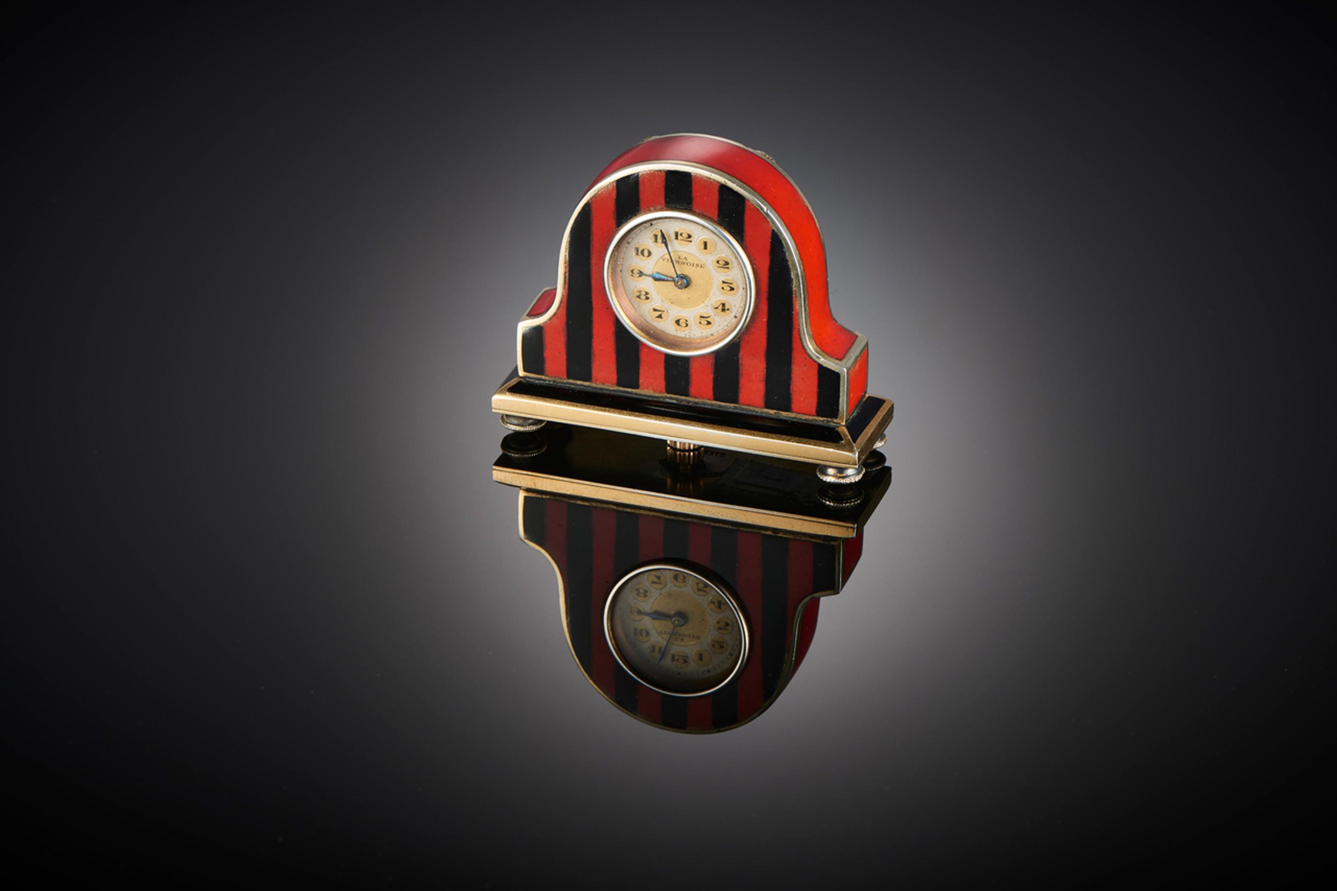 Rare Miniature Enamel Mantle Clock - Front Image