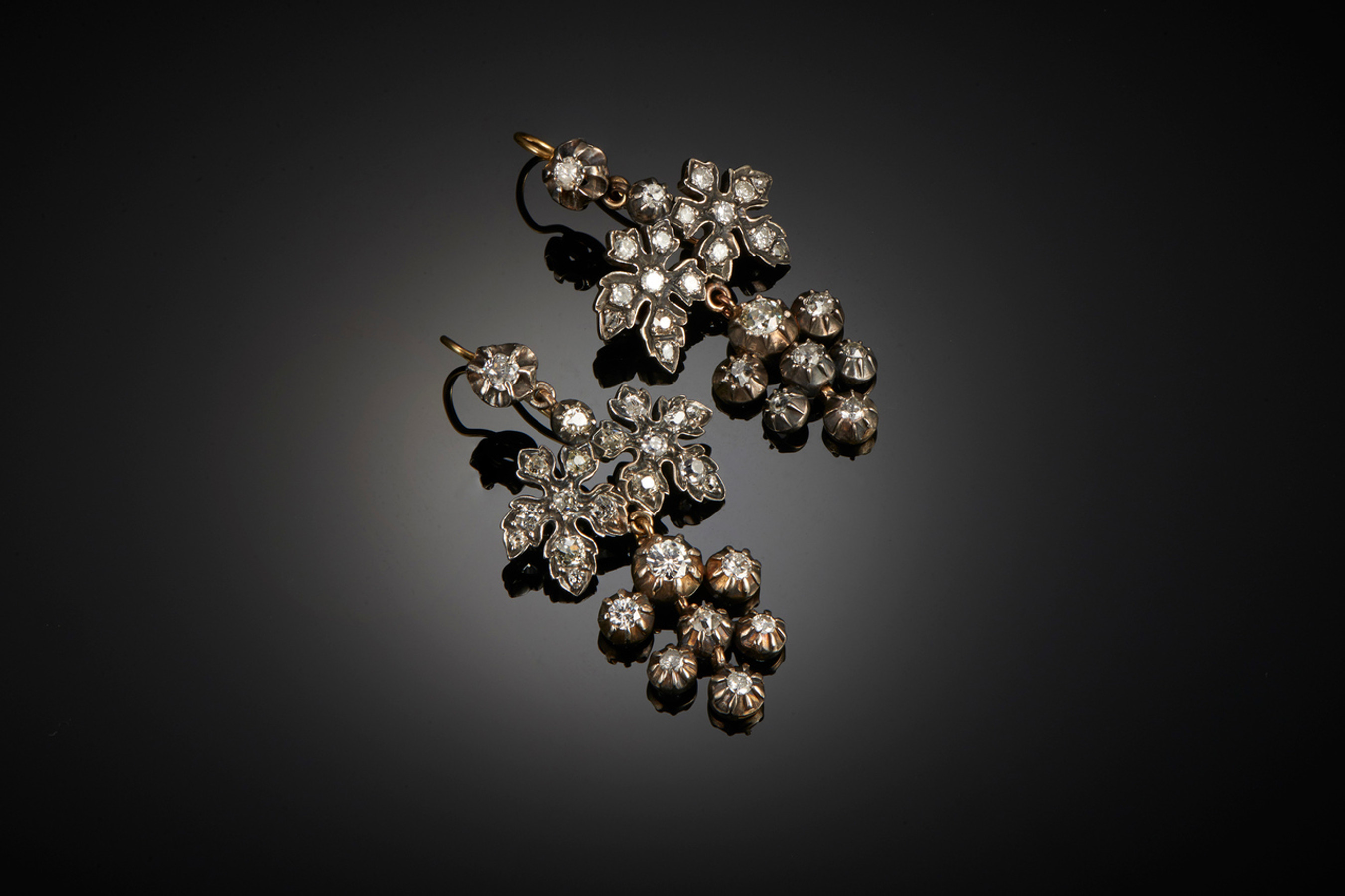Divine Pair of Georgian Diamond Pendant Earrings - Front Image