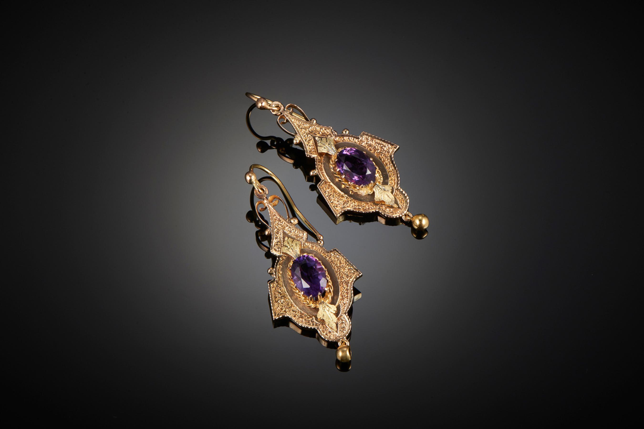 Wonderful Pair of Victorian Amethyst Pendant Earrings - Front Image