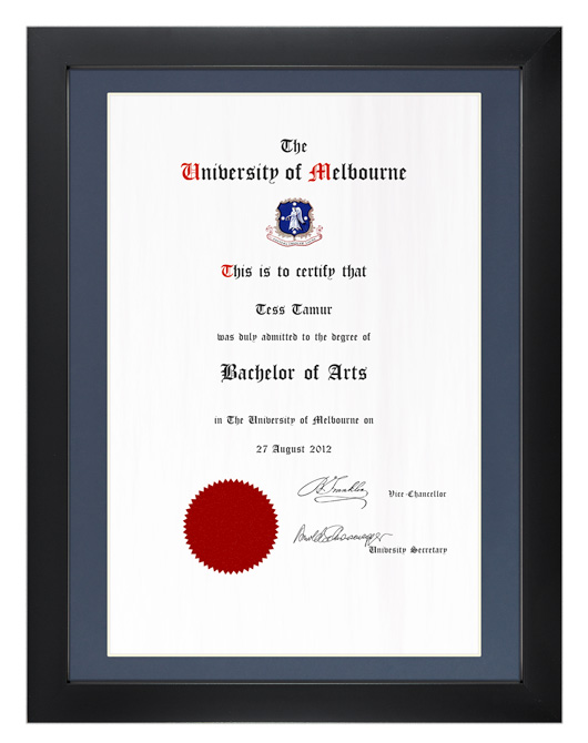 Degree Certificate Frame for University of Melbourne | GownTown