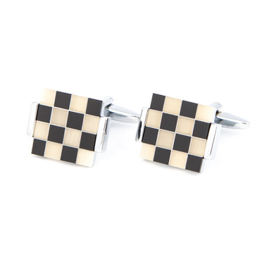 Black and White Check Shell Cufflinks - main view - University graduation gift