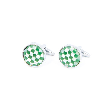 Green and White Check Shell Cufflinks - main view - University graduation gift