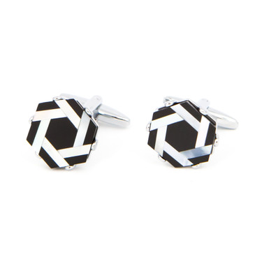 Black and White Shell Vortex Cufflinks - main view - University graduation gift