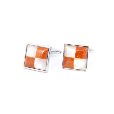 Copper and White Quadrant Cufflinks - main view - University graduation gift