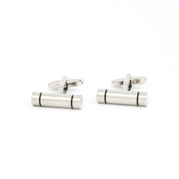 Minimalist Grooved Cylinder Cufflinks - main view - University graduation gift