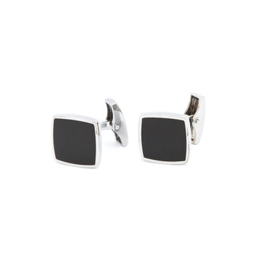 Black Enamel Square Cufflinks - main view - University graduation gift