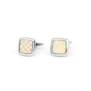 Gold and White Check Cufflinks - main view - University graduation gift