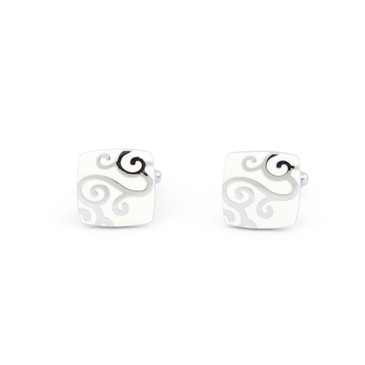 Swirled White Enamel Cufflinks - main view - University graduation gift