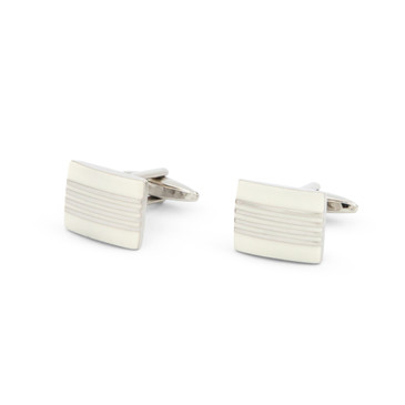 Striped White Enamel Cufflinks - main view - University graduation gift