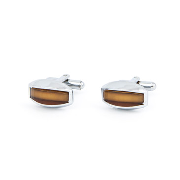 Curved Copper Glass Cufflinks - main view - University graduation gift