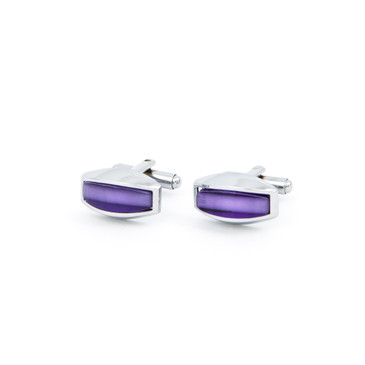 Curved Purple Glass Cufflinks - main view - University graduation gift