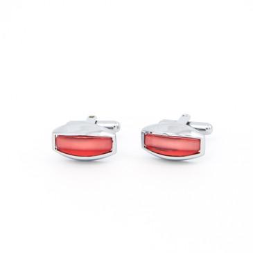 Curved Red Glass Cufflinks - main view - University graduation gift