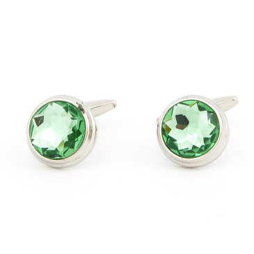 Cut Green Glass Cufflinks - main view - University graduation gift