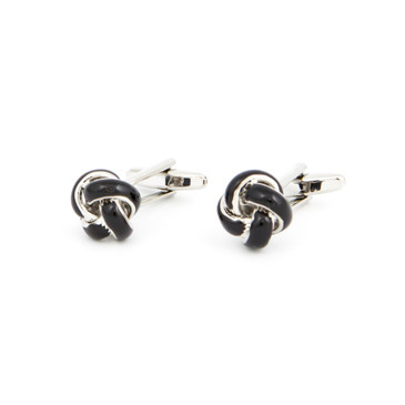 Black Enamel Knot Cufflinks - main view - University graduation gift