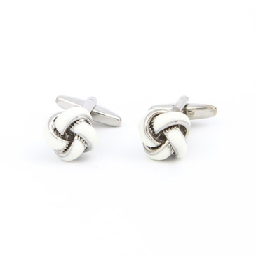 White Enamel Knot Cufflinks - main view - University graduation gift