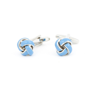 Light Blue Enamel Knot Cufflinks - main view - University graduation gift