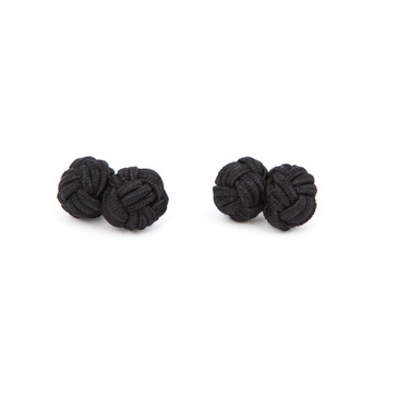 Black Fabric Knot Cufflinks - main view - University graduation gift