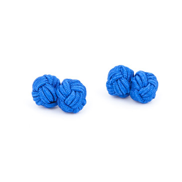 Blue Fabric Knot Cufflinks - main view - University graduation gift