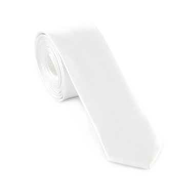 White Satin Necktie (Skinny) - main view - University graduation gift