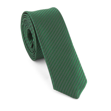 Olive Green Satin Necktie (Skinny) - main view - University graduation gift