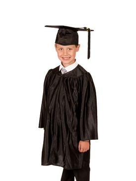 Primary Shiny-Style Black Gown & Cap - Ages 7 to 8