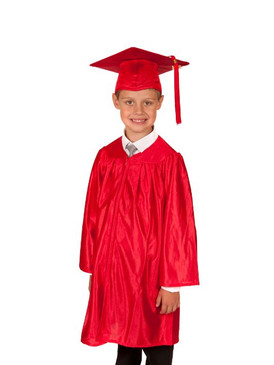 Primary Shiny-Style Red Gown & Cap - Ages 9 to 10