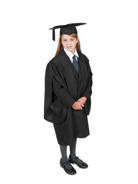 Primary Traditional-Style Black Gown & Cap - Ages 3 to 4