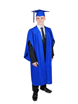 Secondary Traditional-Style Blue Gown & Cap - 148-161cm