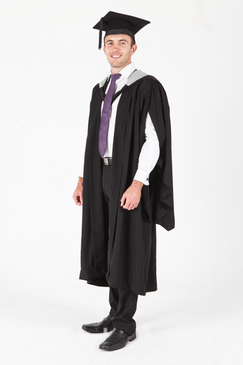 Victoria University Bachelor Graduation Gown Set - Music - Front view