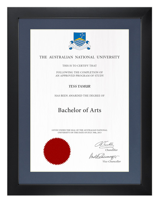 Degree Certificate Frame For Anu Gowntown