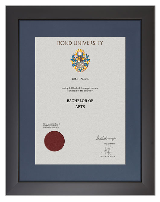 Degree Certificate Frame For Bond University Gowntown