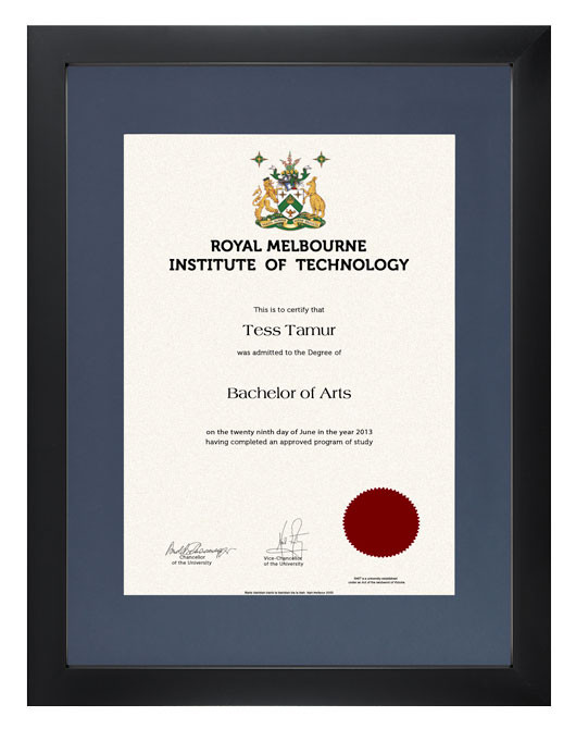 Degree Certificate Frame For Rmit Gowntown