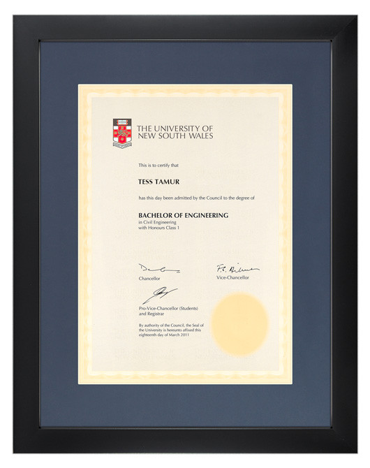 Degree Certificate Frame For Unsw Gowntown