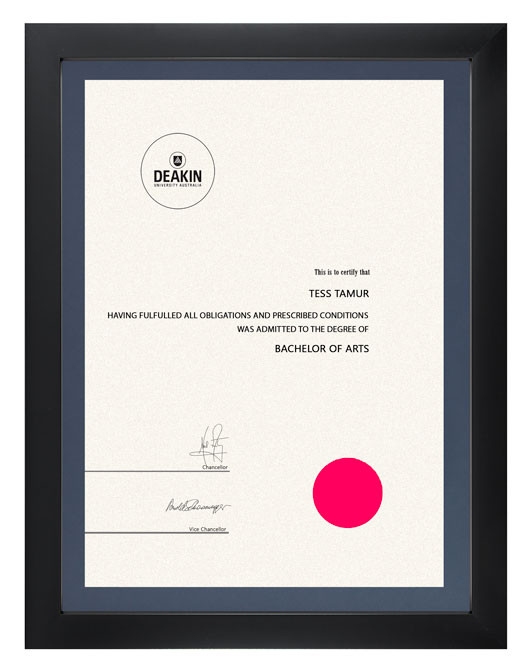Degree Certificate Frame For Deakin University Gowntown