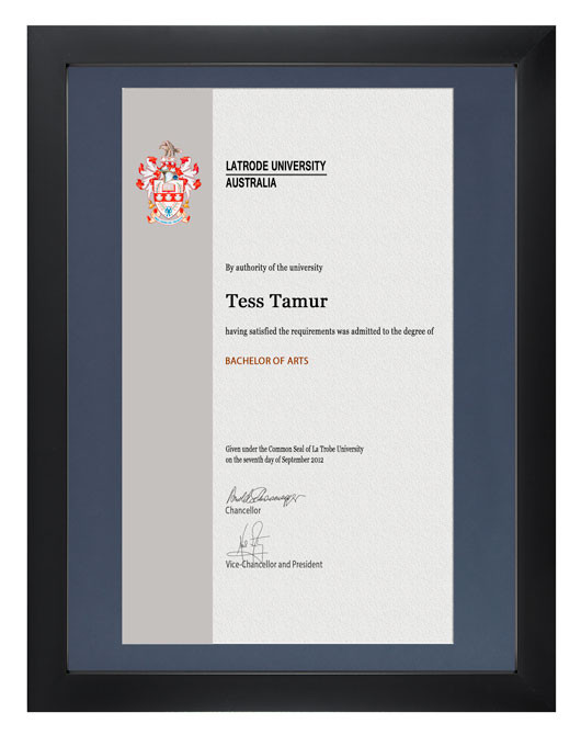 Degree Certificate Frame For La Trobe University Gowntown