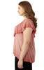 Plus Size Ruffle V-Neck Top In Berry Blush