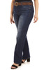 Plus Size Curvy Belted Bootcut Jeans In Cypress
