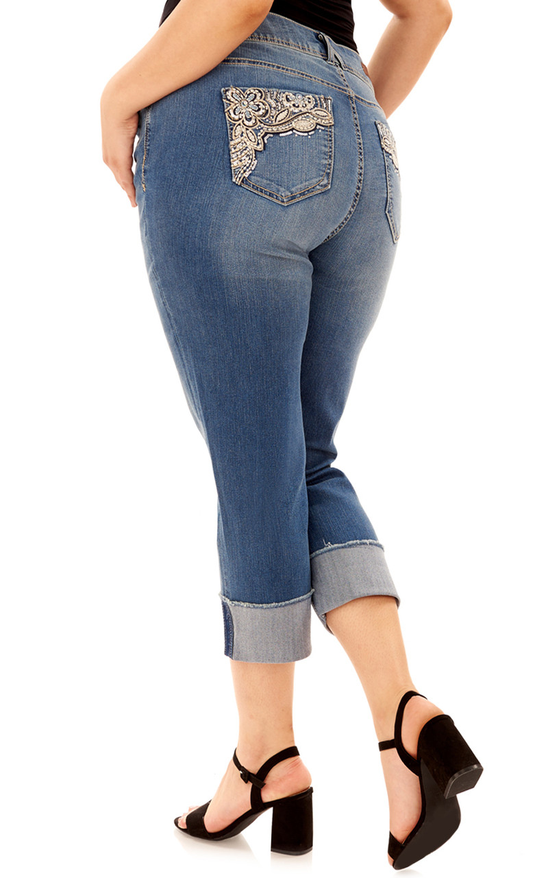 Plus Size Curvy Embellished Cropped Jeans In Baltic - Angels Jeans