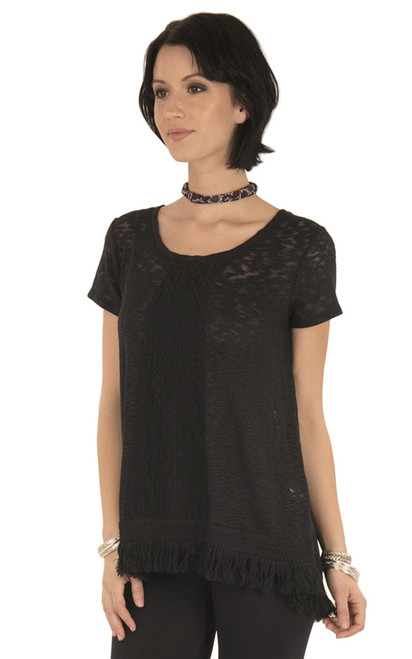Short Sleeve Lace Top In Jet Black